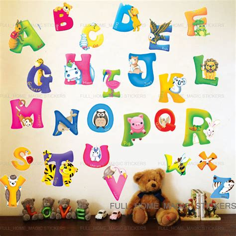 large alphabet wall stickers large animal alphabet letter wall stickers nursery early