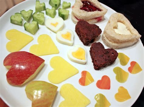 valentines lunch shaped food