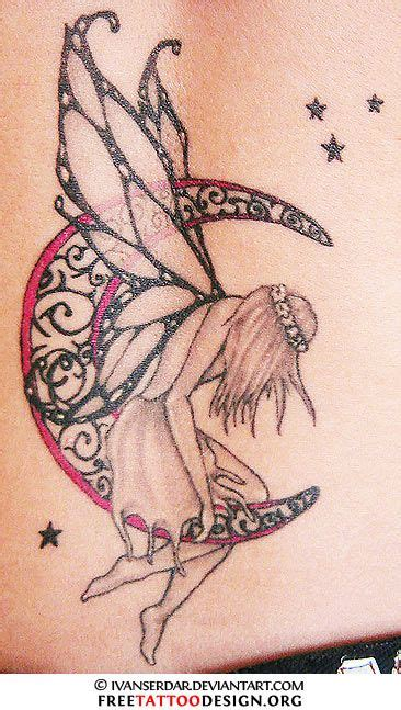 sitting fairy tattoo designs of a sitting on the moon tattoos