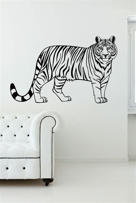 tiger jungle animal vinyl wall wall decal stickers for home decor 37x23 inch
