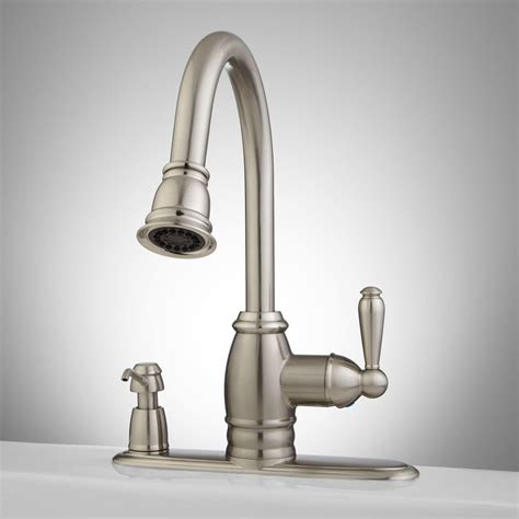 one kitchen faucets sonoma pull kitchen faucet with integral soap