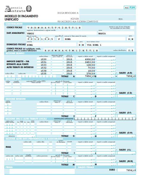 codice sede inps f24 il modello f24 per il pagamento delle imposte in