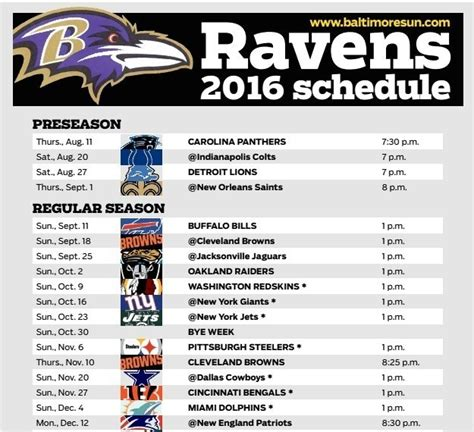 printable ravens schedule 2015 baltimore ravens announce 2016 schedule football