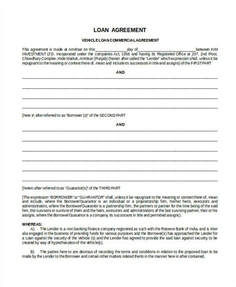 commercial loan agreement 43 commercial agreement exles sles pdf word pages