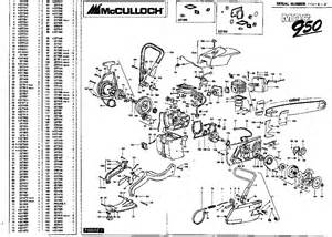 mcculloch mac 950 chainsaw parts list 1990 1991 1992 1993