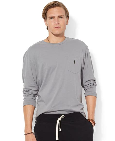 Sleeved Crewneck T Shirt polo ralph classic fit sleeved jersey pocket