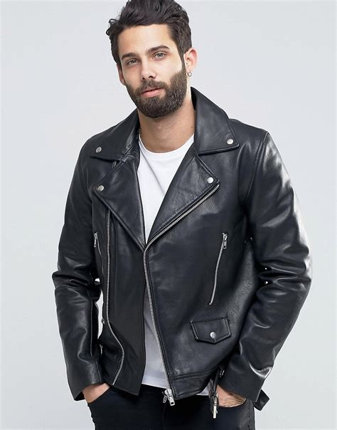 biker jacket asos leather biker jacket with belt in black in black for