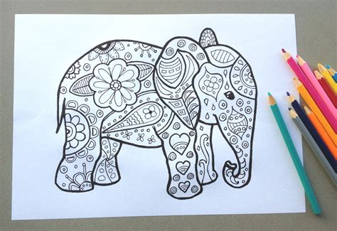 elephant design clothes elephant design colouring page adult colouring page kids