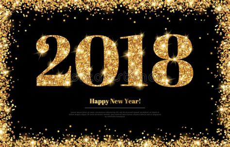 new year 2018 number new year 2018 gold numbers on black stock vector image