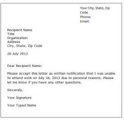 leave of absence letter sle formal letter sles