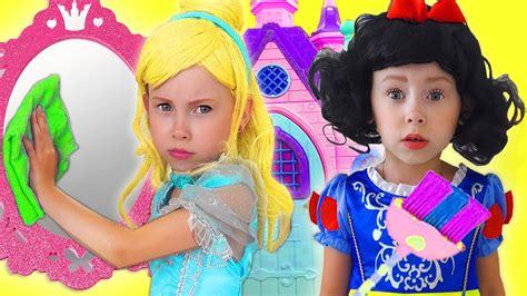 kids makeup disney princesses pretend play  cleaning