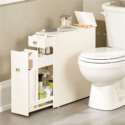 this narrow stylized bath cabinet is thin enough to fit in that small space between the toilet