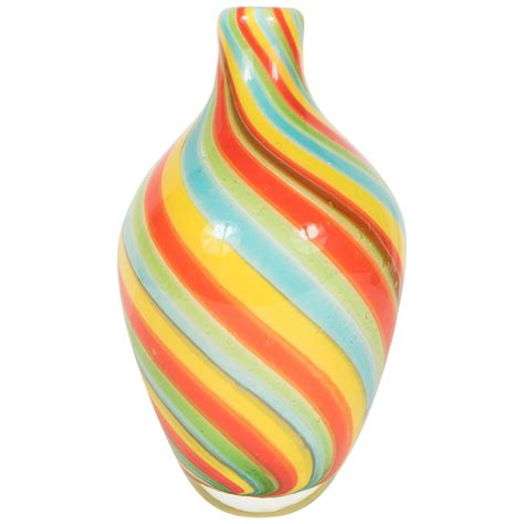 Colored Vase by Radiant Murano Vase In Multi Colored Winding Striped Glass For Sale At 1stdibs