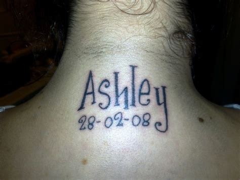 ashley name neck tattoos