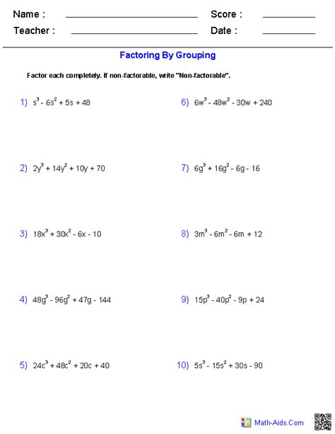 Factor Completely Worksheet Answers algebra 2 worksheets polynomial functions worksheets