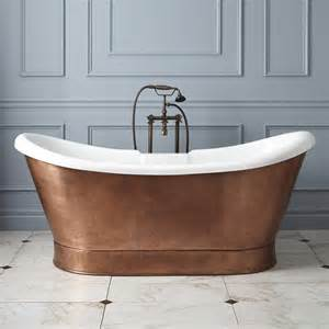 69 quot rosalind acrylic hammered copper skirted tub bathroom