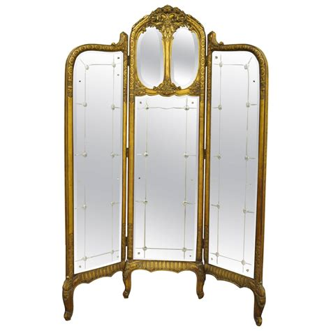 section screen french louis xv style three section gold gilt wood mirror