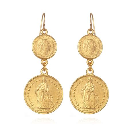 ben amun coin earrings in gold lyst