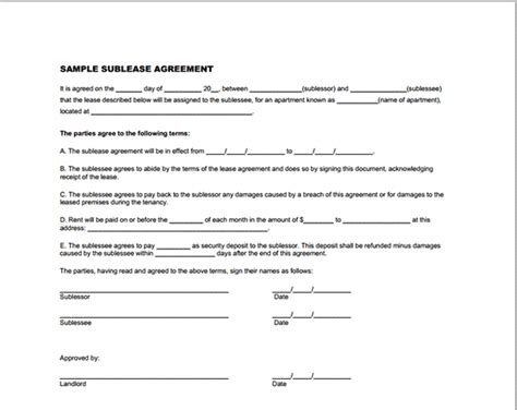 sublease agreement template free printable documents