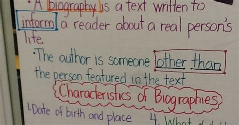 characteristics of biography and autobiography the third graders are learning about the characteristics