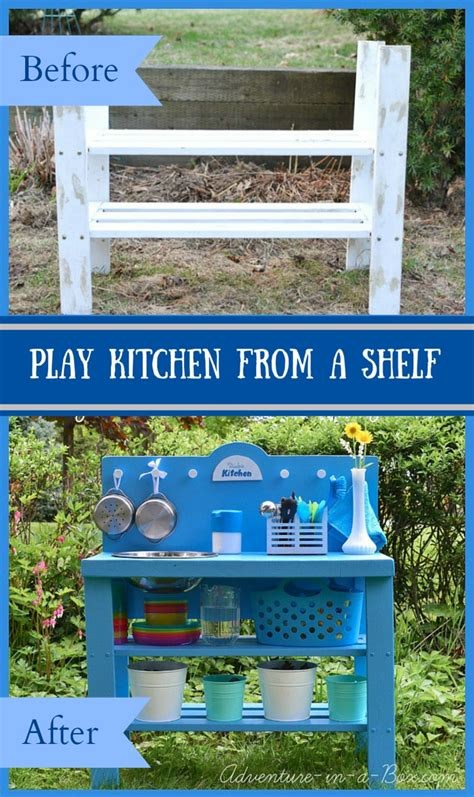 diy outdoor play kitchen from a shelf outdoor play