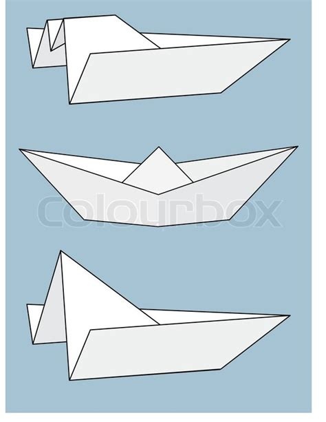 Origami Speed Boat - set of paper boats origami isolated illustration on gray