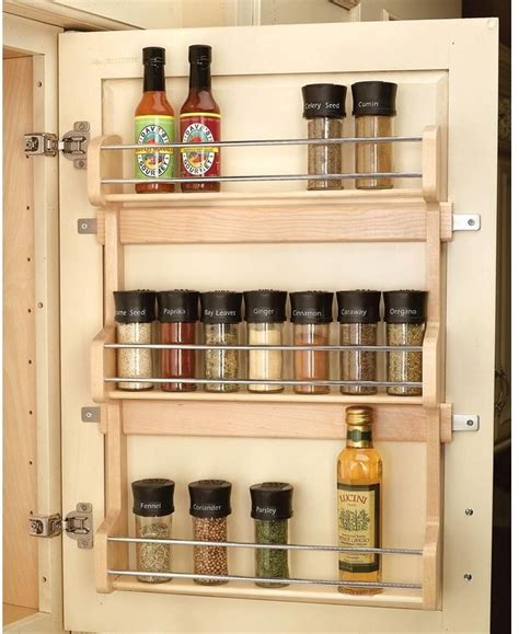 kitchen cabinet storage organizers 3 shelf large cabinet door mount spice rack 22 quot h x 17 quot w x
