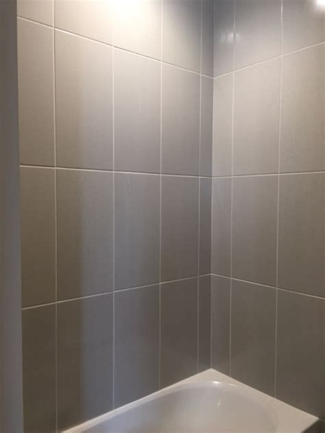 12x24 tile shower sleek gray vertical stacked wall tile daltile showscape