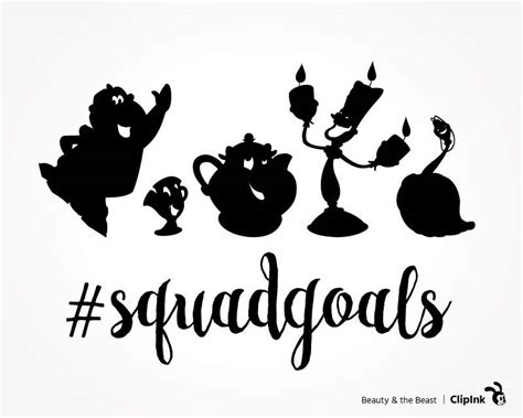 Beauty and the Beast svg squad goals clipart, Disney squad goals svg, silhouette files, svg, eps