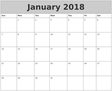 January 2018 Calendar Printable Template Calendar Template To Print