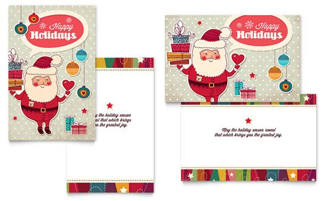 cards publisher template retro santa greeting card template word publisher