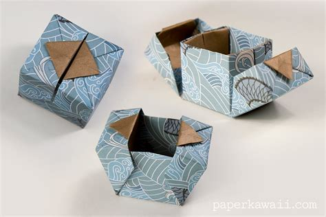 How To Make Origami Gift Box With Lid - origami hinged box tutorial paper kawaii