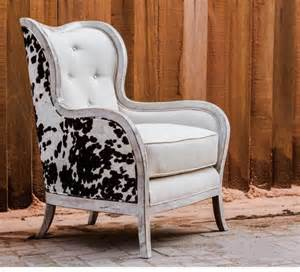transitional cowhide wingback arm chair cow hide white