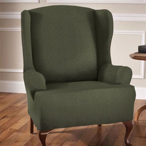 stretch wing chair slipcover raise the bar stretch wing chair slipcovers