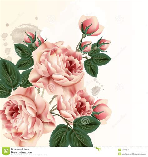 vintage style floral background with pink blooms royalty gentle background in vintage style royalty free stock