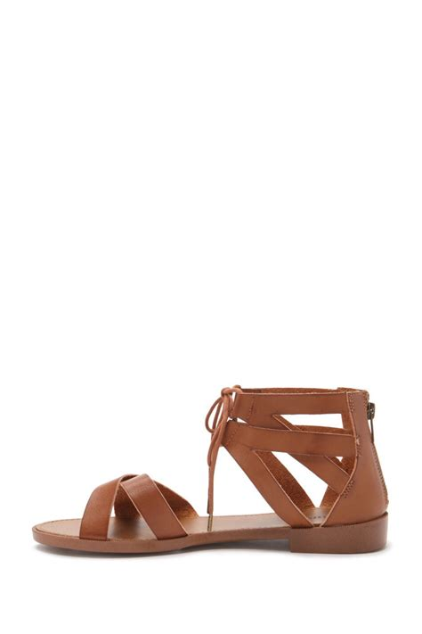 faux leather sandals forever 21 strappy faux leather sandals in brown lyst