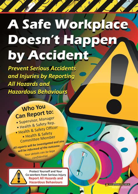layout of the work space to prevent accidents and injuries report accidents workplace safety poster a3 size safety