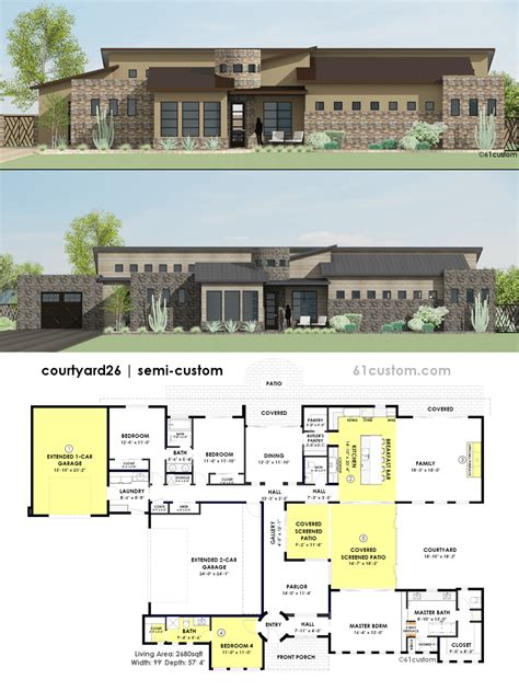 Contemporary Side Courtyard House Plan 61custom