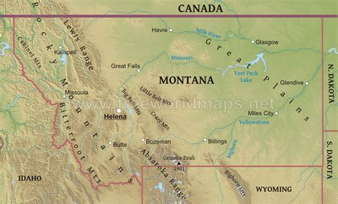 geographical map of montana physical map of montana