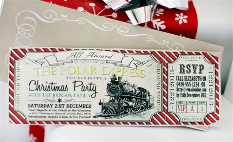 polar express christmas invitation red
