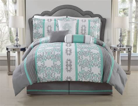 mint green comforter queen 11 piece queen alieli gray mint bed in a bag set sweet