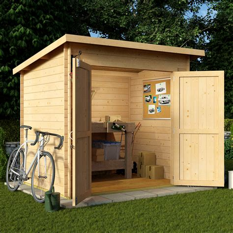billyoh 8 x 6 19mm pent log cabin windowless heavy duty