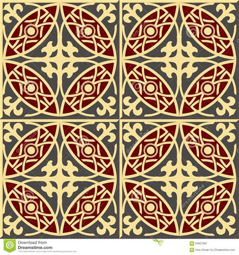 retro pattern wall tiles vintage seamless wall tiles of royal red cross round