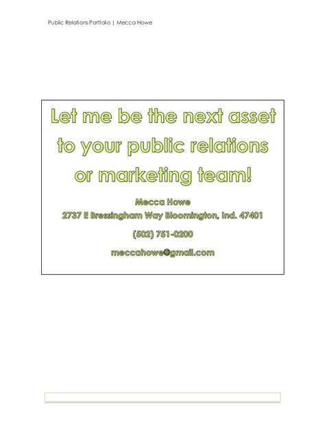 Public Relations And Marketing Portfolio Relations Portfolio Template