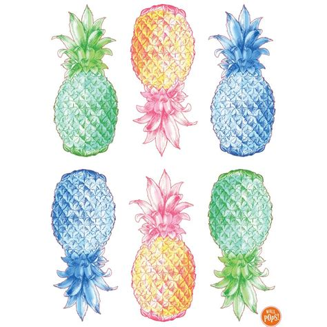 pineapple color wallpops 24 in x 17 5 in multi color pop pineapple wall