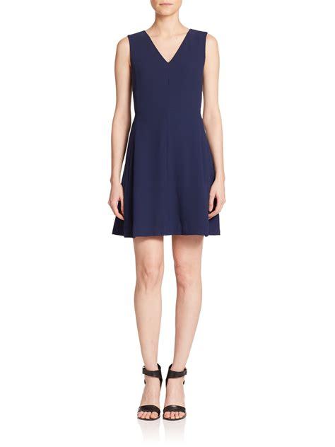 Sleeveless A Line Dress lyst vince sleeveless a line dress in blue
