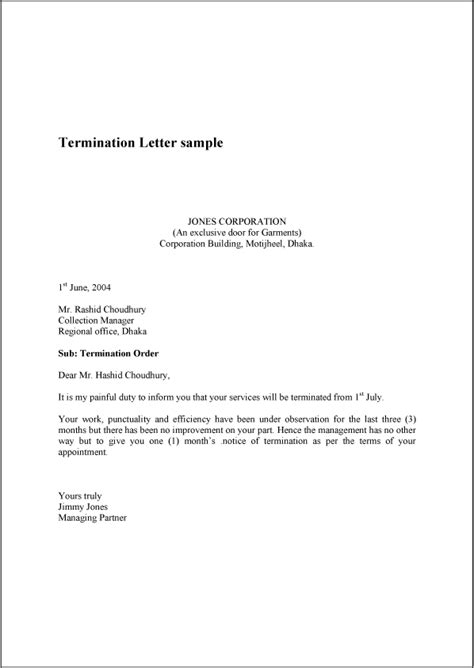 sample termination letter without cause resumedoc info
