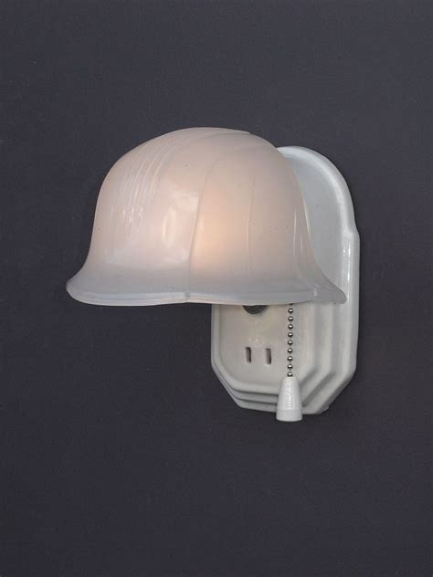 Porcelain Light Fixture Vintage White Porcelain Wall Light Fixture With Helmet Shade Sold On Ruby