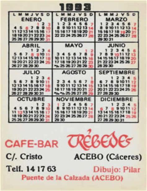 Calendario De 1993 Caf 233 Bar Tr 233 Bedes Calendario 1993