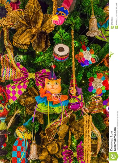 colorful tree ornaments colorful tree ornaments and decorations stock